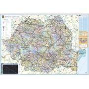 Harta de perete, Romania, plastifiata 140x100 cm