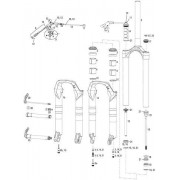 Rock Shox, Set steli, corona e cannotto Dualair/Dual Position Air Revelation 10-11, Grigio (Grey)