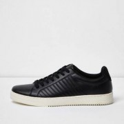 River Island Mens Black quilted lace-up trainers