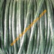 Cuero 2,5 mm color verde metalizado ( precio por 50 cm)