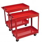 vidaXL Колички за инструменти 100 кг. с 2 рафта, червени – броя