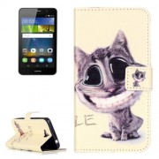 Huawei Y6 Pro Embossment Smiling Cat Pattern Horizontal Flip Leather Case with Holder & Card Slots & Wallet