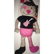 Doudou Chat Influx Beige Noir Rose Rock Guitare Etoile Rose Ours Peluche Jouet Enfant Bébé Plush Soft Toys Cat Teddy Bear Pink Star