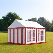 Intent24 3x4m tente de réception, PVC, H. 2m, rouge-blanc