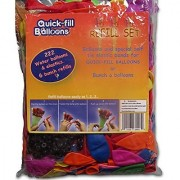 Quick Fill Balloons Refill Set 222 Top Quality Multi Colored Water Balloons + 222 Self Tie Bands - Reload Quickly Your B