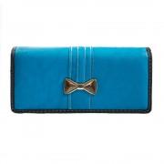 Portofel de dama, albastru, cu fundita aurie