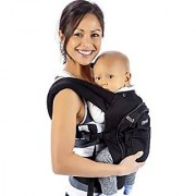 Mo+m Classic Cotton 3 Position Baby Carrier (Black) - Soft Structured Ergonomic Sling w/ Mesh Cooling Vent Hood & Pockets - Great Gift for New Moms