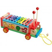 Happy Cherry Wooden Tap tune Xylophone Glockenspiel Knock Piano with Pull Along Truck Tractor Trolley for Kids...