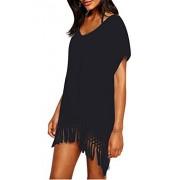 Taydey Women's Swimwear Knitted Crochet Tunic Cover up / Beach Dress Black