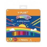 Creioane colorate, cutie metal, 24 culori/set, PIGNA Rainbow Y-Plus+