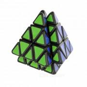 Irregular Shaped 4 Roller Pyramid Style Magic IQ Cube - Black + Multicolor