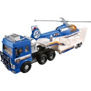 Small World Toys Vehicles - Police Helicopter Truck Transporter (friction powered)