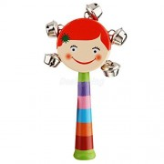 VIPASNAM-5 Metal Jingles Bells Wooden Hand Held Drum Bell Percussion Toy for Children