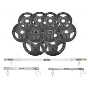 Kit de Anilhas Sport Luxo 30 Kg + Barras com Presilhas