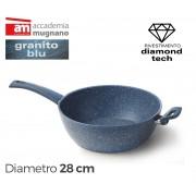 Tegame semifondo 28 cm rivestimento Diamond Tech effetto pietra Accademia Mugnano GRANITO BLU