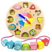 Elloapic Children's Teaching Clocks Time Learning Wooden Shape Sorting Clock Wooden Threading Lacing Beads String