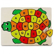 Kids Playschool Preschool Puzzled Raised Puzzle Abc Turtle Wooden Toys