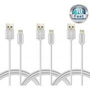 CE-Link(TM) Certified 10 Feet / 3 Meters Nylon Braided Lightning Charging Cord for iPhone iPad iPod - (Pack of 3)
