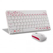 Rapoo | 8000-W 2.4G Wireless Multimedia Mini Keyboard & Mouse Combo - White (Nano Receiver) / 12 months battery life