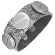 Bratara Fashion din Piele Argintata si Capse Otel Inox Lucios BFL-733