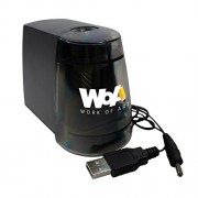 Electric Pencil Sharpener by WOA - Essential Desk and Classroom Supplies, Portable with 2 Power Sources, Durable Helix Cutter, Creates Professional Sharpened Tip, Safety Auto-Off Black