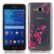 for Samsung Galaxy Grand Prime LTE G530 TPU Case HD Clear Screen Protector Shock TPU Bumper Case Flower