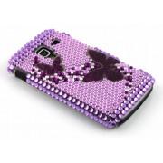 Paars vlinder BlingBling hardcase hoesje met strass steentjes voor de Samsung Galaxy Ace 2 i8160