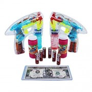 Bubble Blower With Sound Lights Up Led Transparent Bubble Gun (2 Guns) 6 Extra Aa Batteries (1 Piece) Collectable High Quality Million Dollar Bill In A Pvc Holder (1 Piece) Set Has A Total Of (12 Pieces) Colors May Vary
