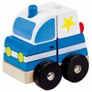 Lena 43204 - Puzzle in legno ad incasso, soggetto: Auto della polizia