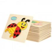 Escarabajo Shape Puzzle Bloques de madera de dibujos animados Toy - amarillo + multicolor