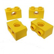 Lego Parts: Technic Brick 1 x 2 with 1-Hole (PACK of 4 - Yellow)