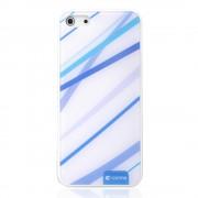 Blauw wit Comma hoesje iPhone 5/5s en SE hardcase met blauwe lijnen