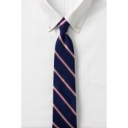 ランズエンド LANDS' END メンズ・シルク・ナロー・ストライプ・タイ/ネクタイ(ダークベイブルーマルチストライプ)