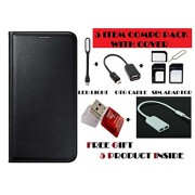 Gionee P7 Flip Cover Case With Free Led, Otg Cable, Card Reader, Sim Adapter and Earphone Splitter By Vinnx - Black