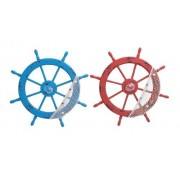 Wood Ships Wheel 2 Assorted with Red and Blue Colors