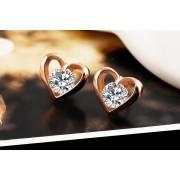 Cercei in forma de inima placati cu aur