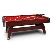 oneConcept Brighton Pool Table 7ft ( 122x82x214 cm ) Accessories Set Wood Effect Red