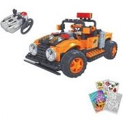 BRICTEK R/C Orange Off Road Truck Building Blocks Set 252pcs (Compatible with Legos) BT-20212 with Coloring Book