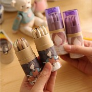 KitMax TM 4 Packs Cool Novelty Cute Girl Mini Colored Pencils with Sharpener Office School Supplies Students Children Gift Color May Vary