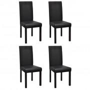 vidaXL Комплект столове за трапезария, 4 броя, цвят черен