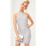 Missguided Lace Square Neck Bodycon Dress Grey, Grey