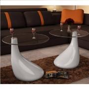 vidaXL Konferenčný stolík, biela kvapková forma, sada 2ks