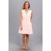 Lacoste Sleeveless Stripe Seersucker Shirtdress WhiteCrevettes Pink