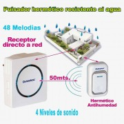 Timbre inalámbrico sin instalación resistente al agua receptor a 220V