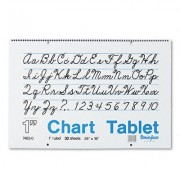 Chart Tablets w/Cursive Cover, Ruled, 24 x 16, White, 30 Sheets/Pad