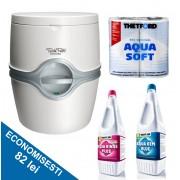 PACHET EXCELLENCE SB: Toaleta PORTA POTTI EXCELLENCE electric + solutie dizolvare deseuri + solutie igienizare + hartie