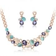 BAGISIMO Krásný kamínkový náhrdelník doplněný o naušnice