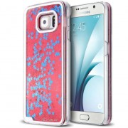 Clubcase Coque Crystal Glitter Liquid Diamonds Rouge Samsung Galaxy S6