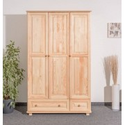 Steiner Shopping Furniture Wardrobe 015, solid pine wood, clearly varnished, 3 doors - size 190 x 120 x 60