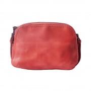 Borsa twice gm in pelle invecchiata a tracolla rosso chiaro made in italy produzione di pelletteria toscana
